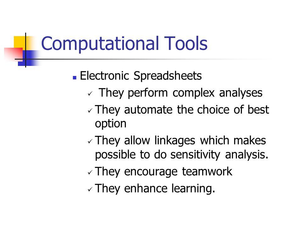Computational Tools Electronic Spreadsheets