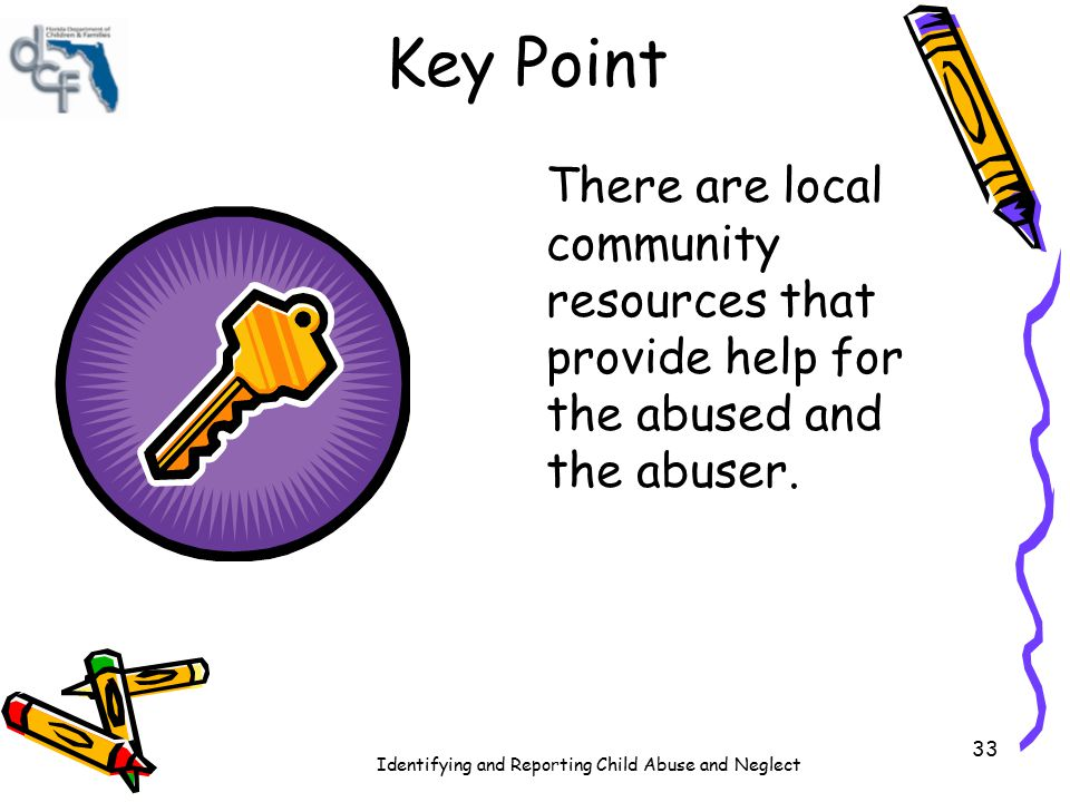 Key Point There are local community resources that provide help for the abused and the abuser.