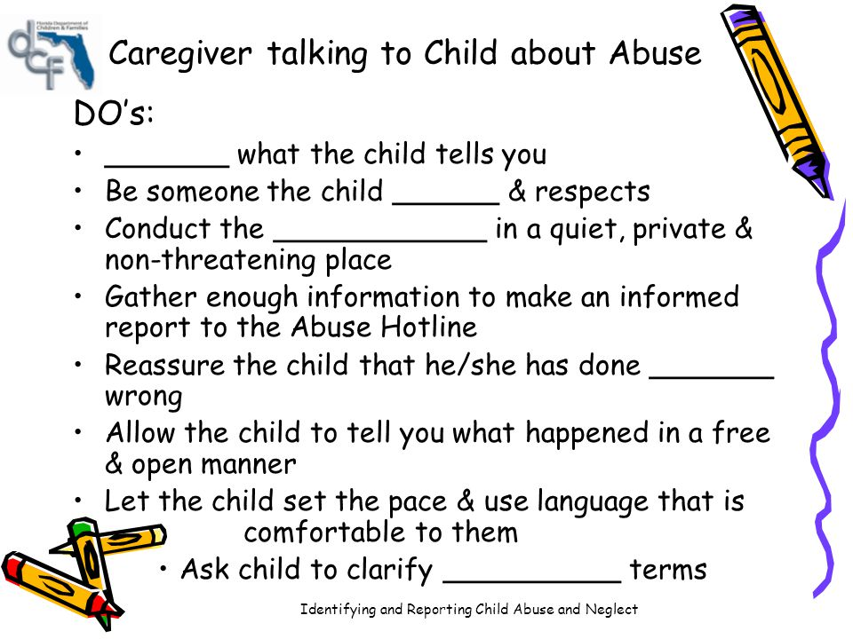 Caregiver talking to Child about Abuse
