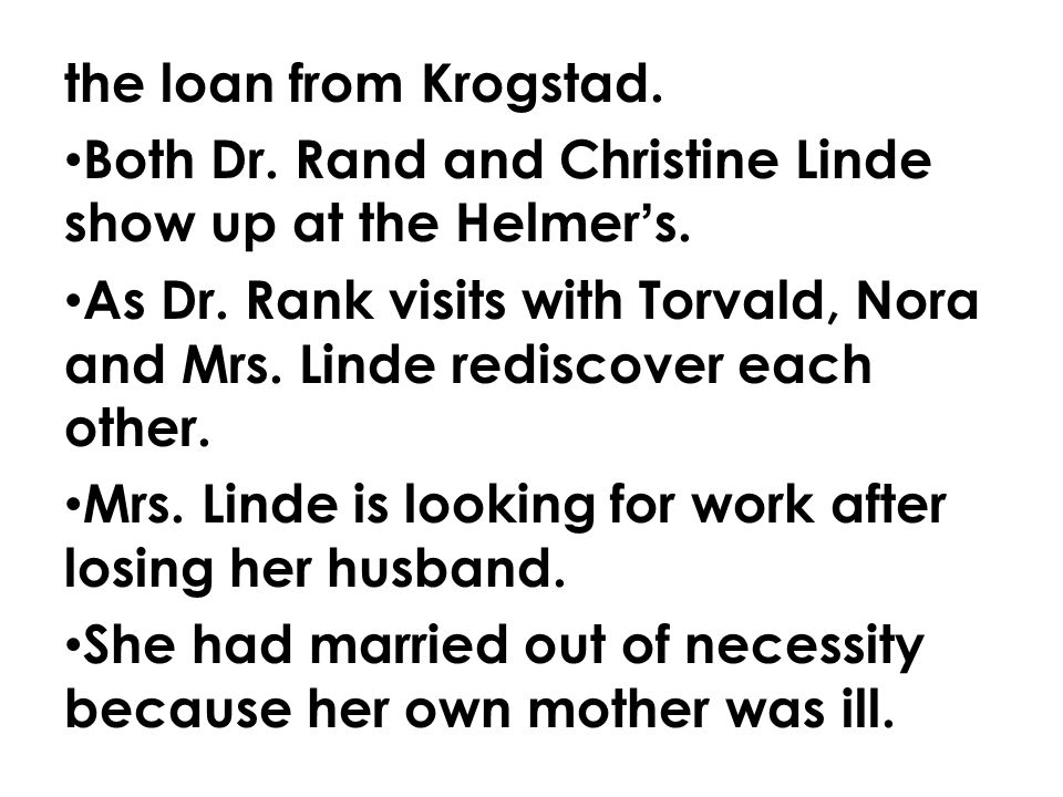 the loan from Krogstad. Both Dr. Rand and Christine Linde show up at the Helmer's.