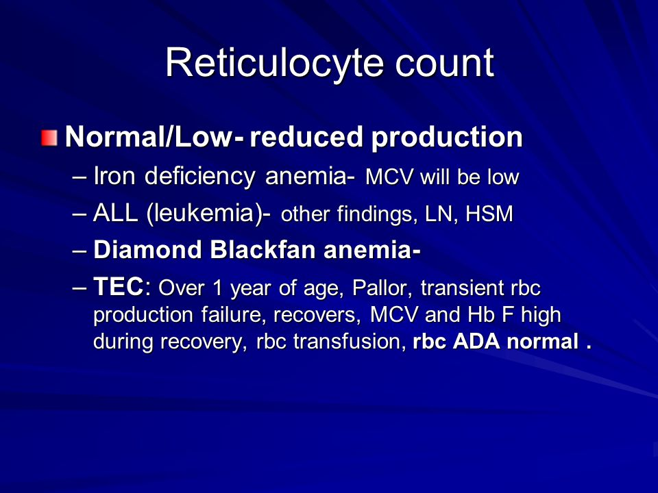 Reticulocyte count Normal/Low- reduced production