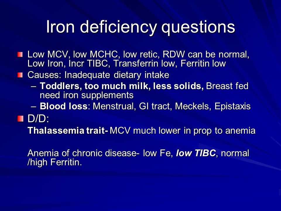 Iron deficiency questions