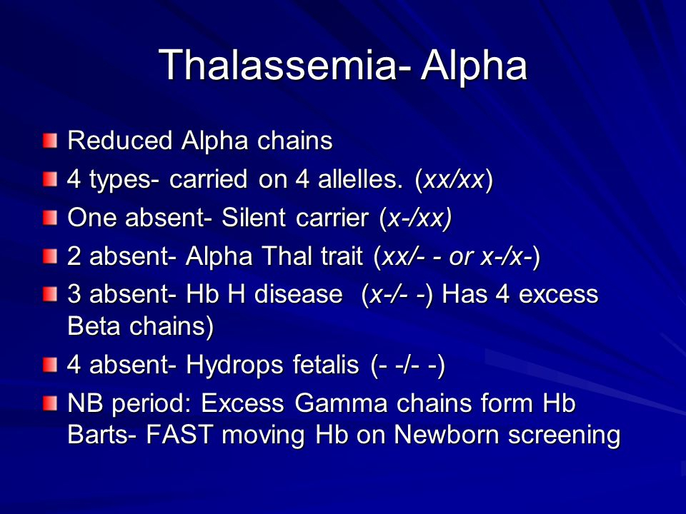 Thalassemia- Alpha Reduced Alpha chains