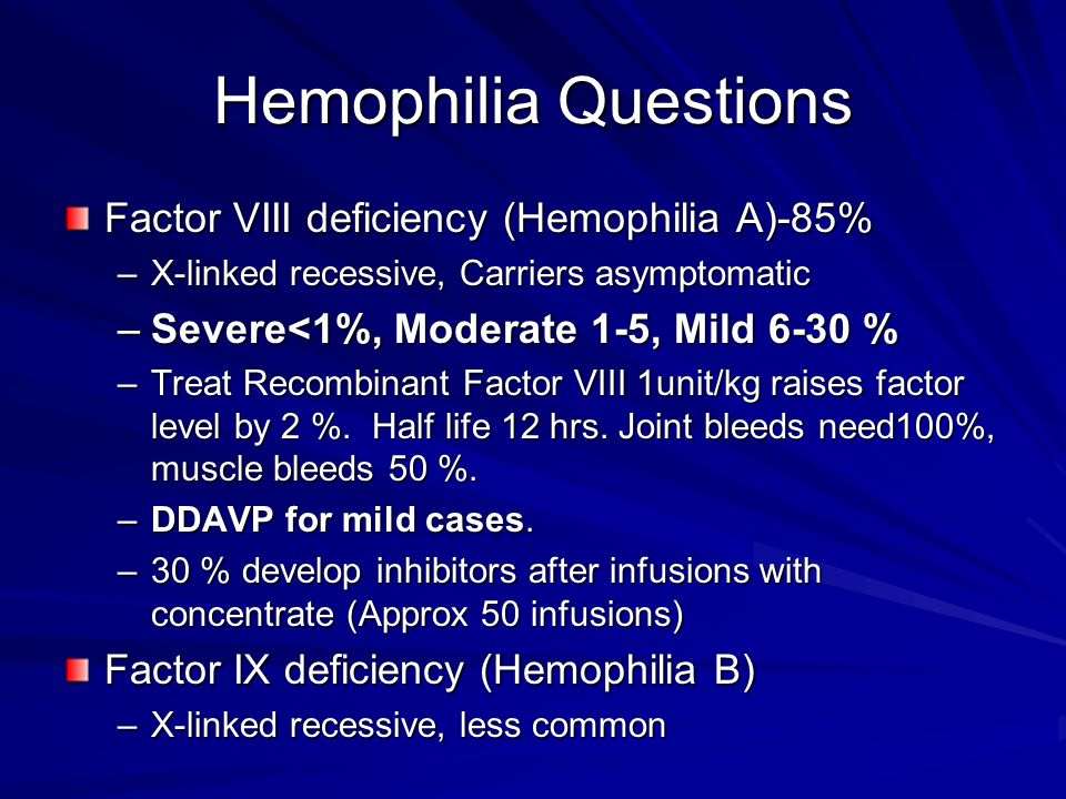 Hemophilia Questions Factor VIII deficiency (Hemophilia A)-85%
