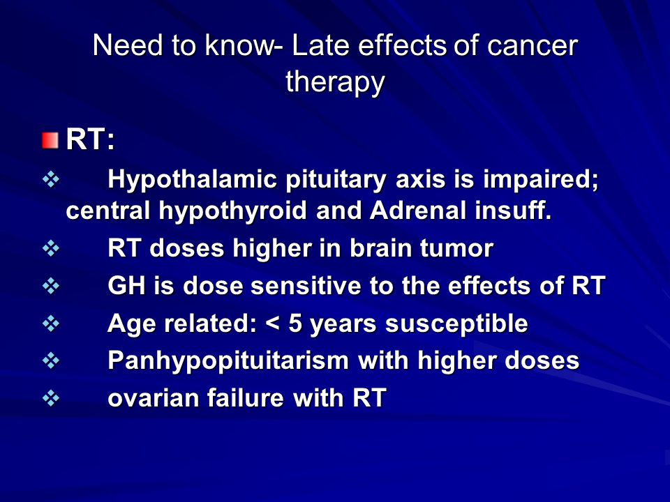 Need to know- Late effects of cancer therapy