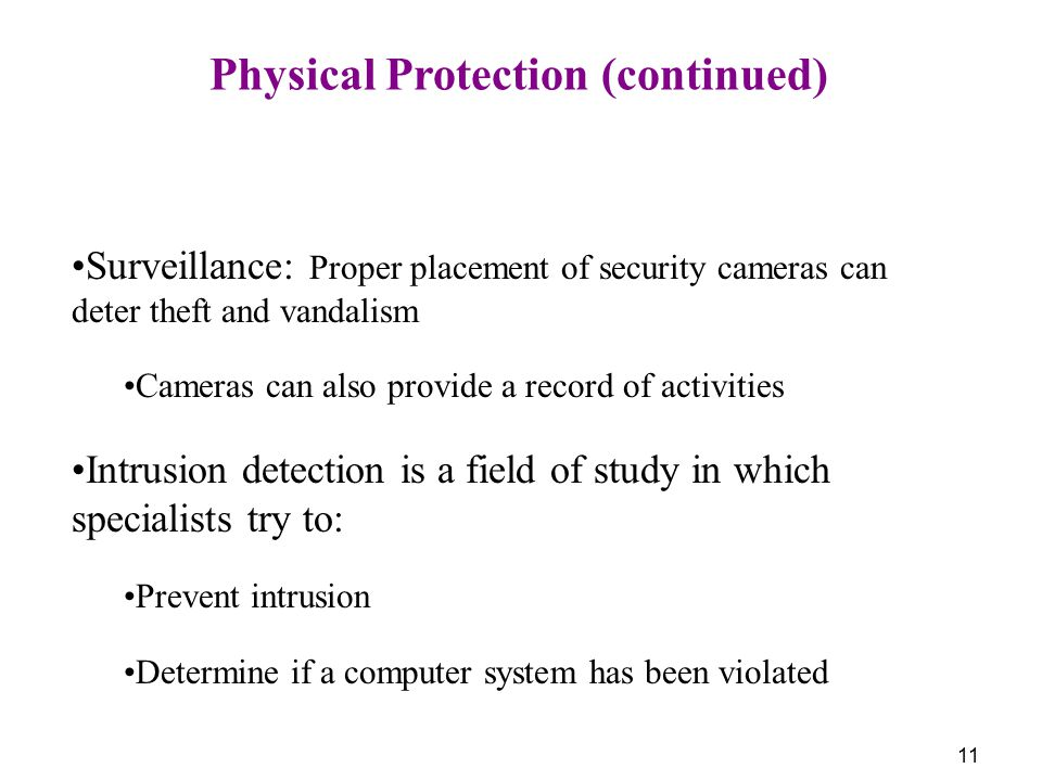 Physical Protection (continued)