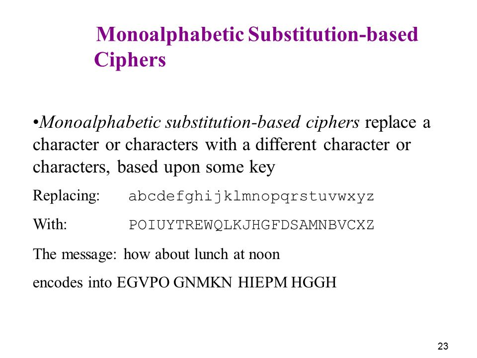 Ciphers Monoalphabetic Substitution-based