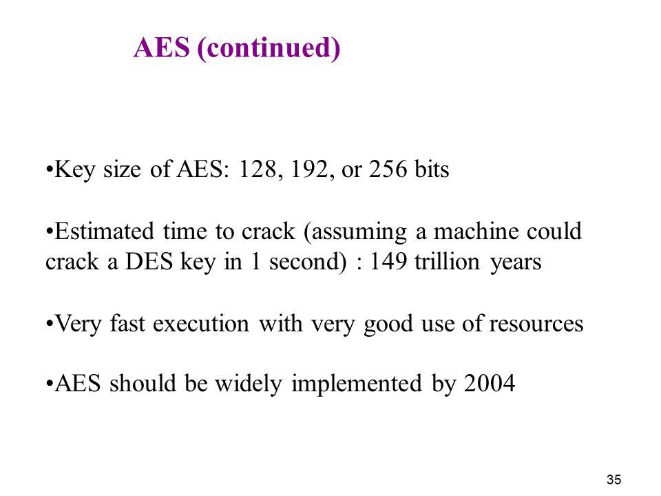 AES (continued) Key size of AES: 128, 192, or 256 bits.