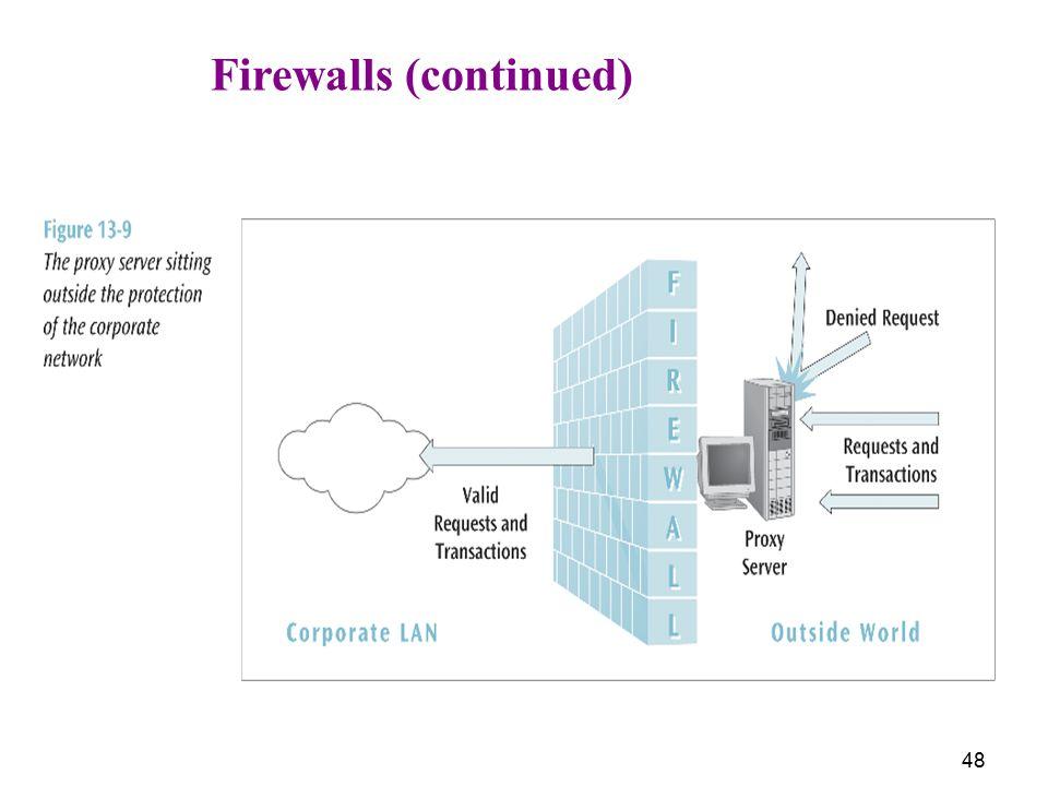 Firewalls (continued)