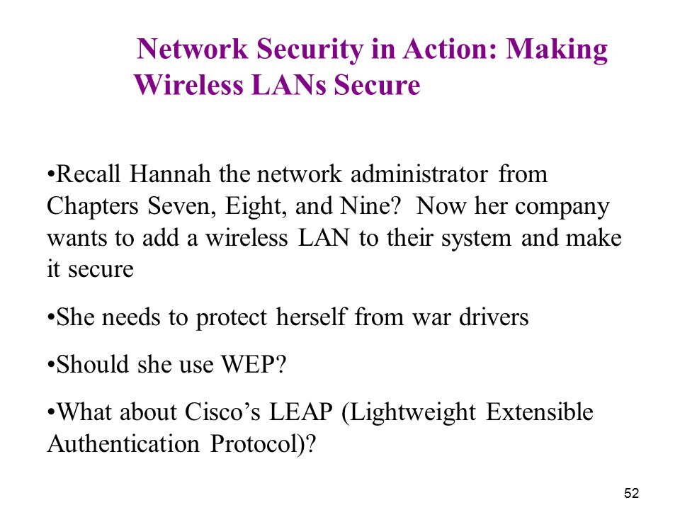 Wireless LANs Secure Network Security in Action: Making