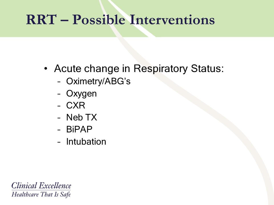 RRT – Possible Interventions