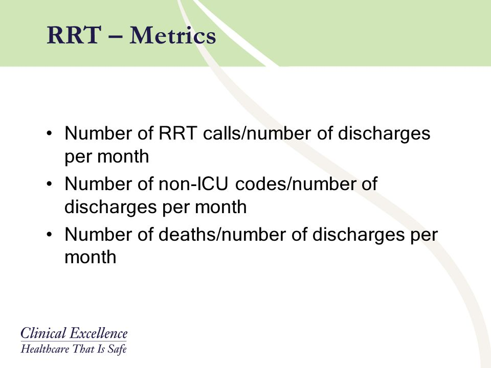 RRT – Metrics Number of RRT calls/number of discharges per month
