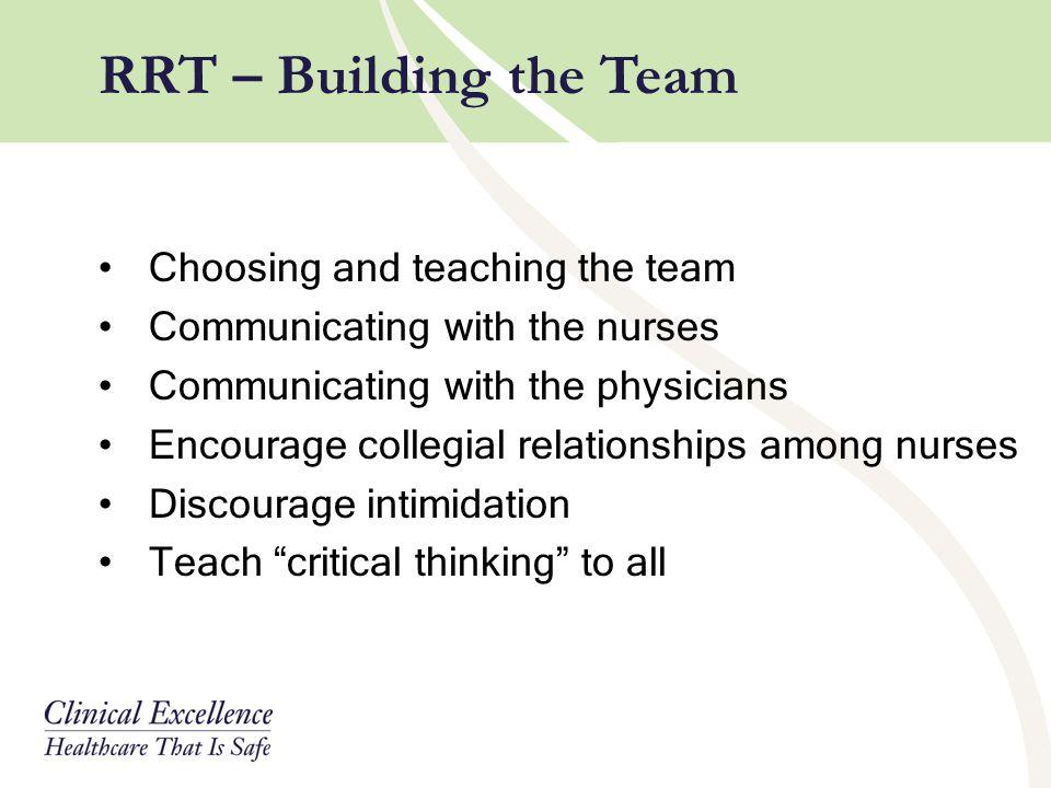 RRT – Building the Team Choosing and teaching the team