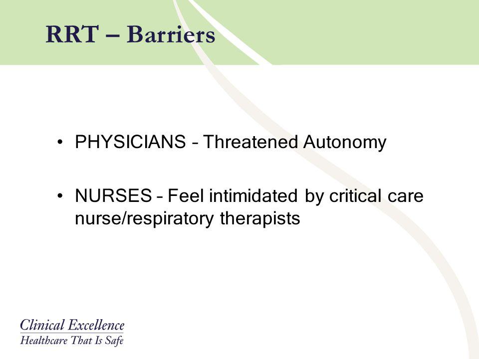 RRT – Barriers PHYSICIANS – Threatened Autonomy