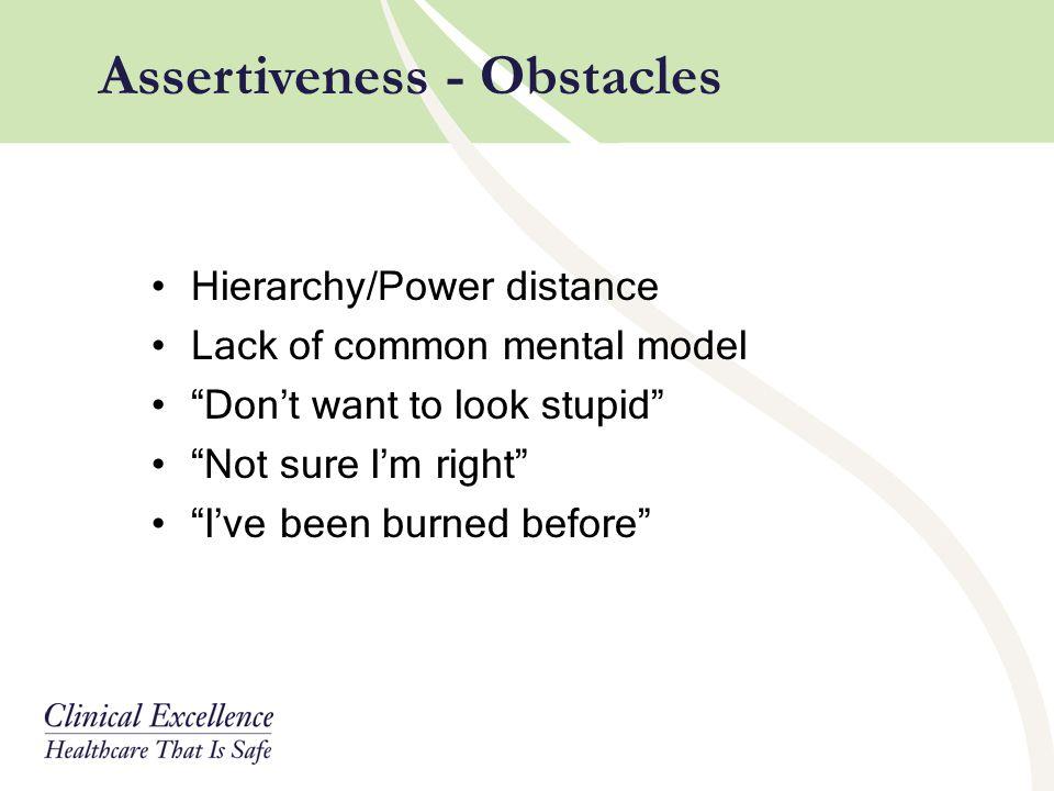 Assertiveness - Obstacles