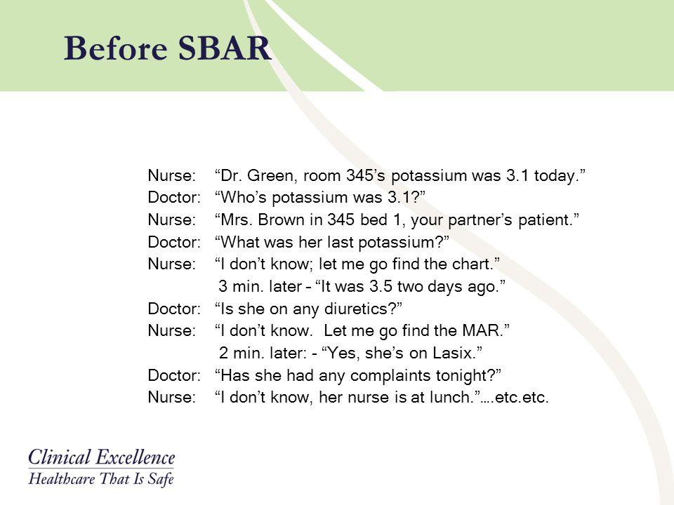 Before SBAR Nurse: Dr. Green, room 345's potassium was 3.1 today.