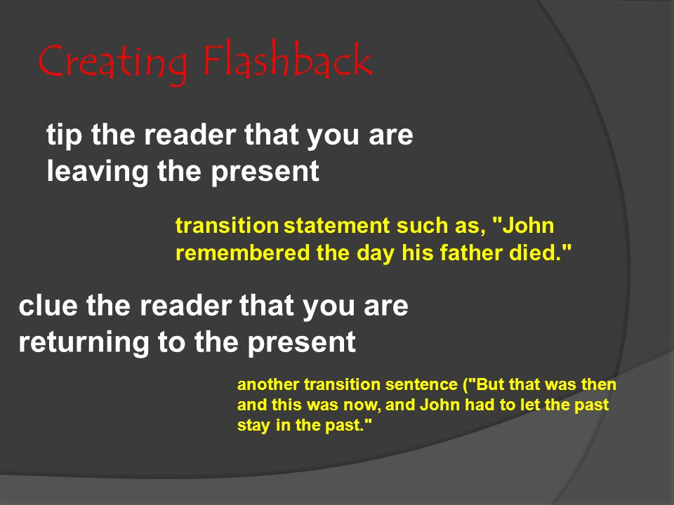 Creating Flashback tip the reader that you are leaving the present