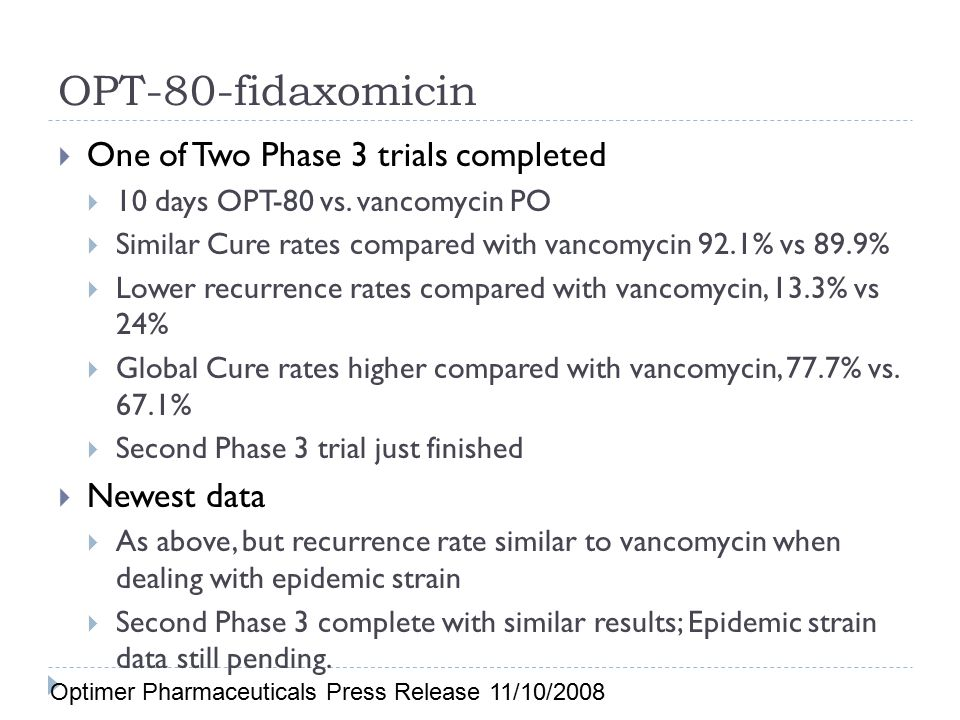 OPT-80-fidaxomicin One of Two Phase 3 trials completed Newest data