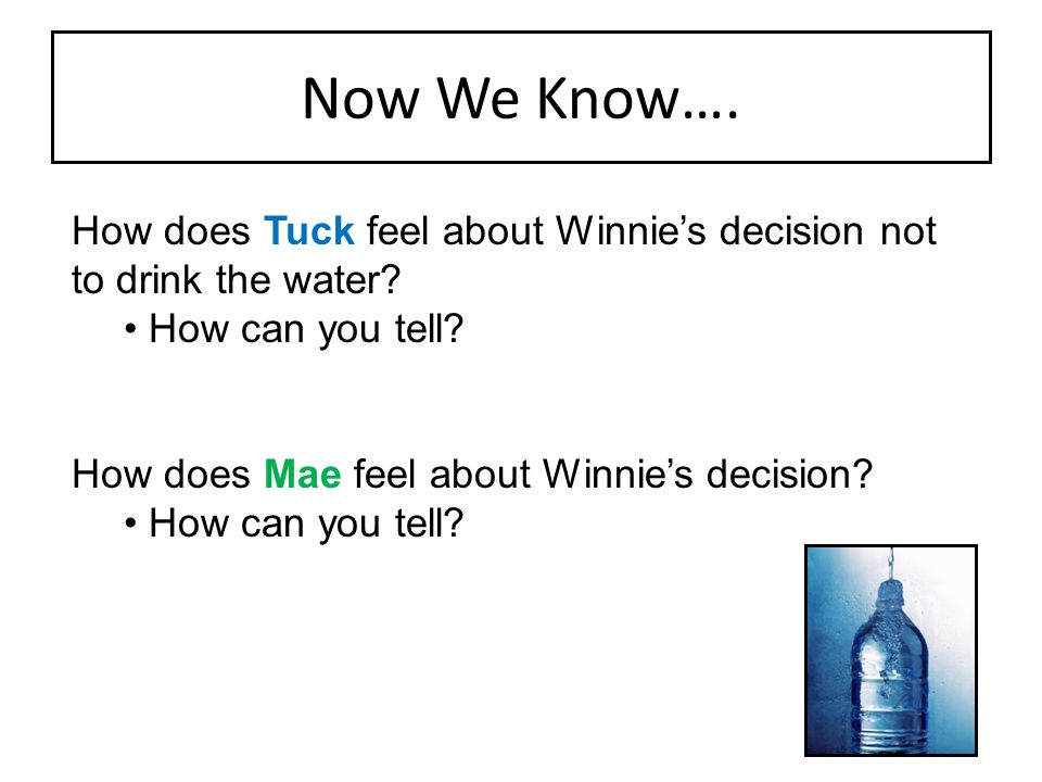Now We Know…. How does Tuck feel about Winnie's decision not to drink the water How can you tell