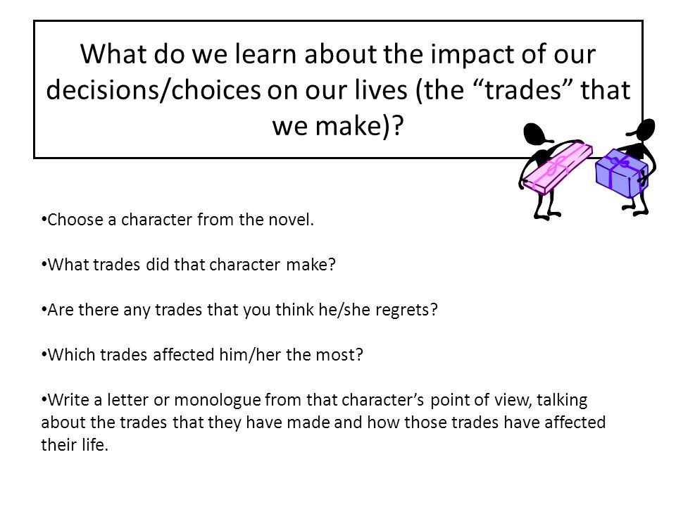 What do we learn about the impact of our decisions/choices on our lives (the trades that we make)