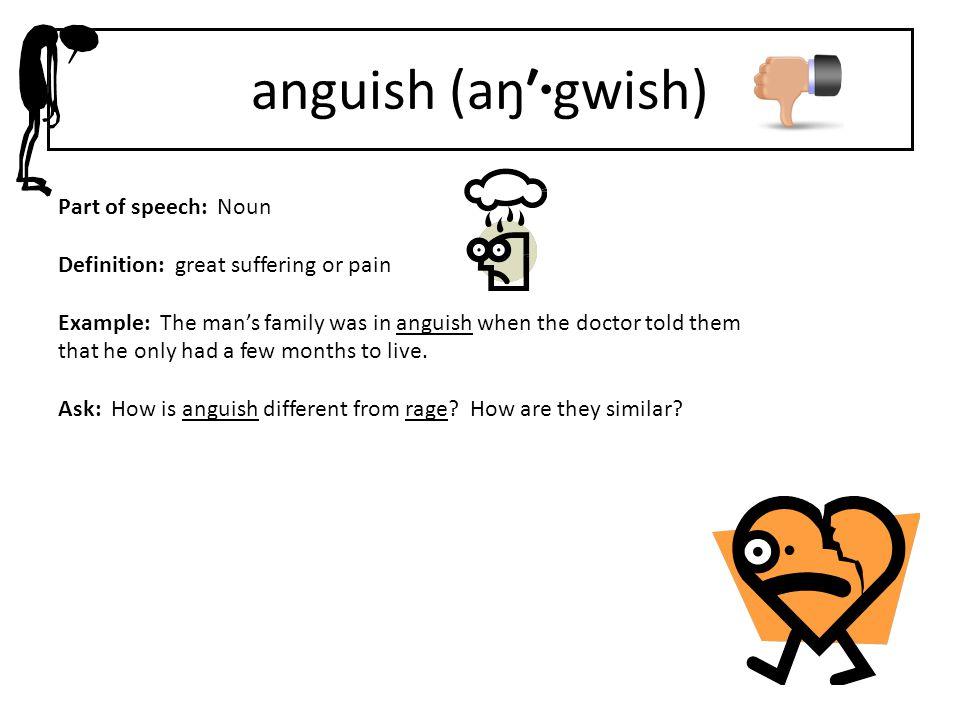 anguish (aŋ′·gwish) Part of speech: Noun