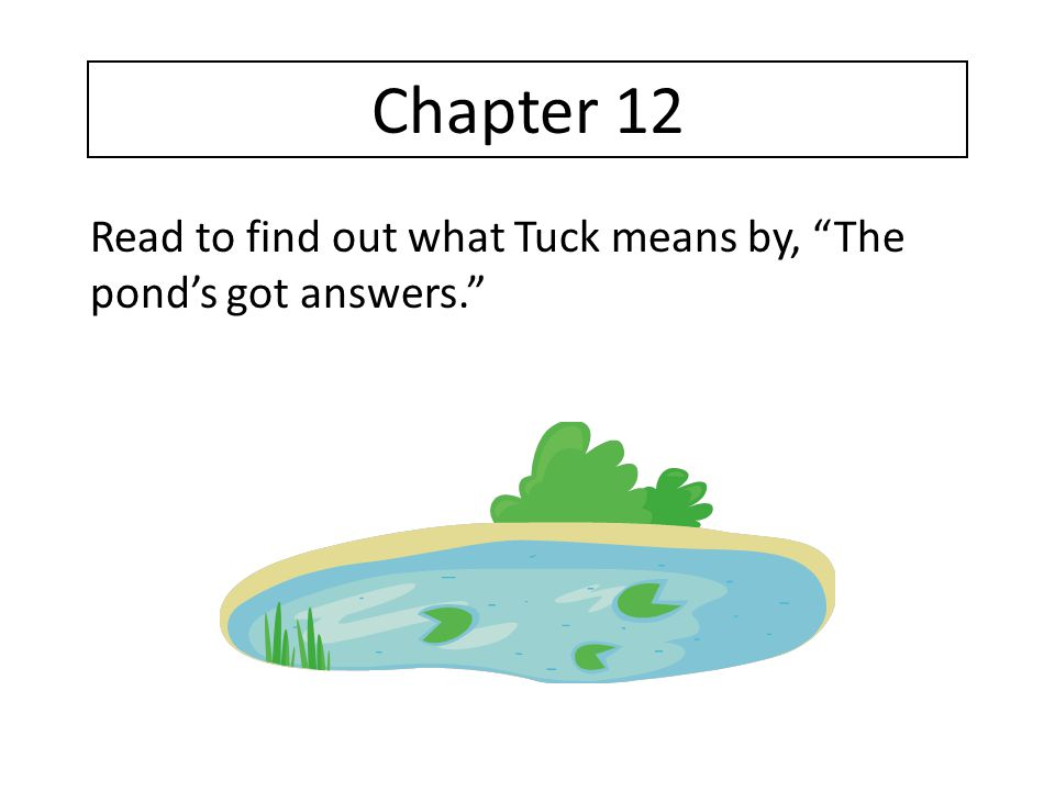 Chapter 12 Read to find out what Tuck means by, The pond's got answers.