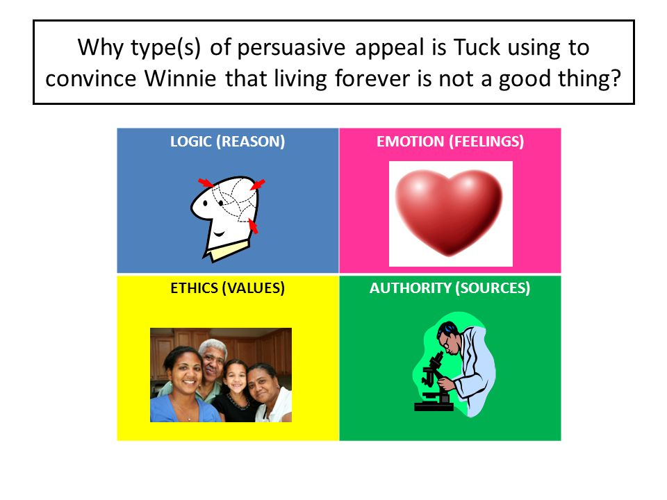 Why type(s) of persuasive appeal is Tuck using to convince Winnie that living forever is not a good thing