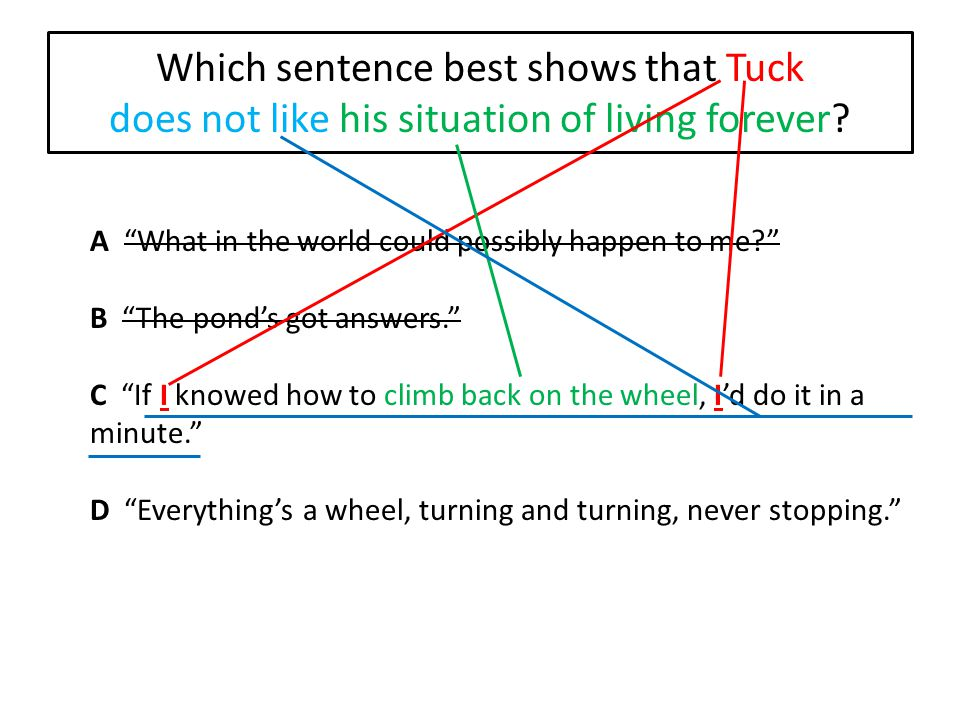 Which sentence best shows that Tuck does not like his situation of living forever