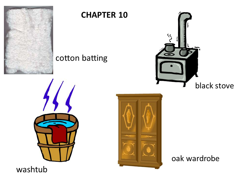 CHAPTER 10 cotton batting washtub black stove oak wardrobe