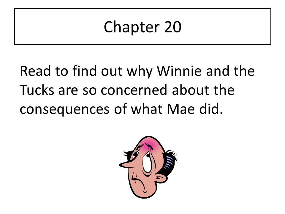 Chapter 20 Read to find out why Winnie and the Tucks are so concerned about the consequences of what Mae did.