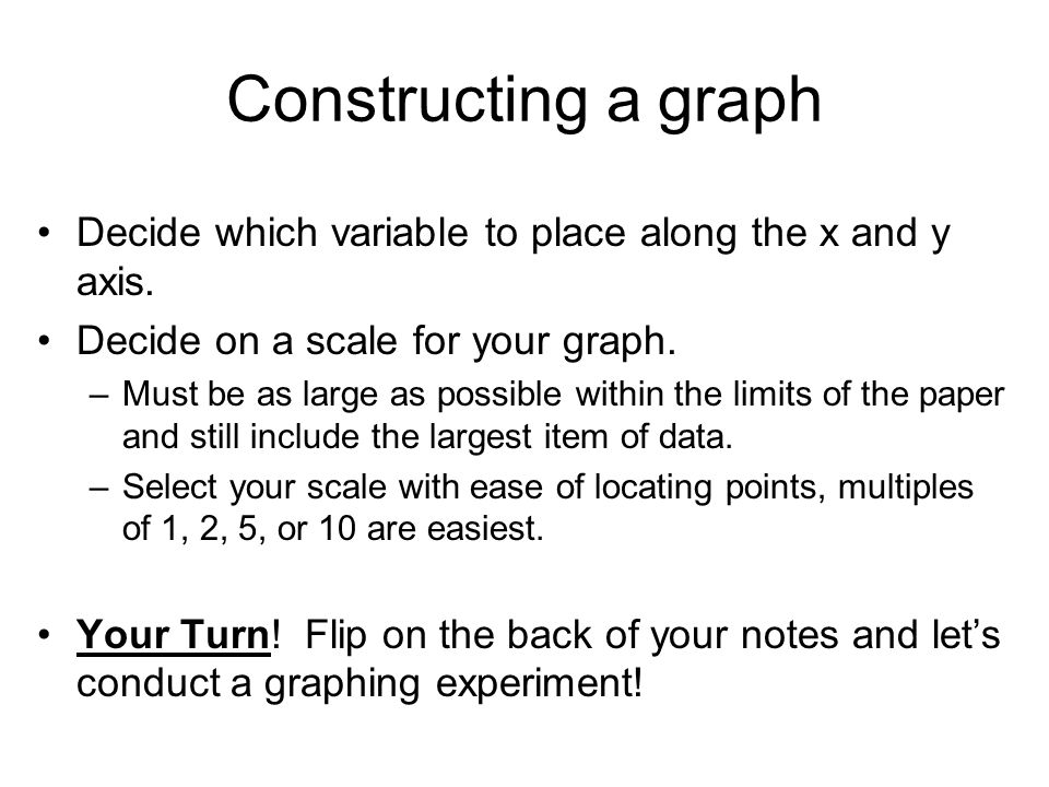 Constructing a graph Decide which variable to place along the x and y axis. Decide on a scale for your graph.
