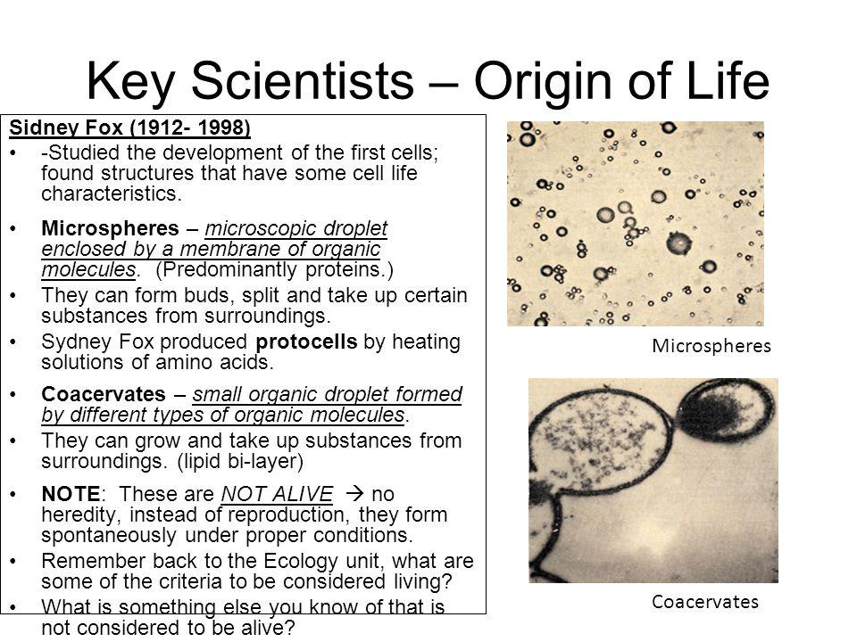 Key Scientists – Origin of Life