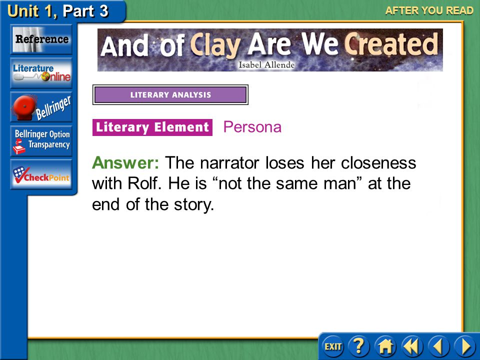 AFTER YOU READ Persona. Answer: The narrator loses her closeness with Rolf.