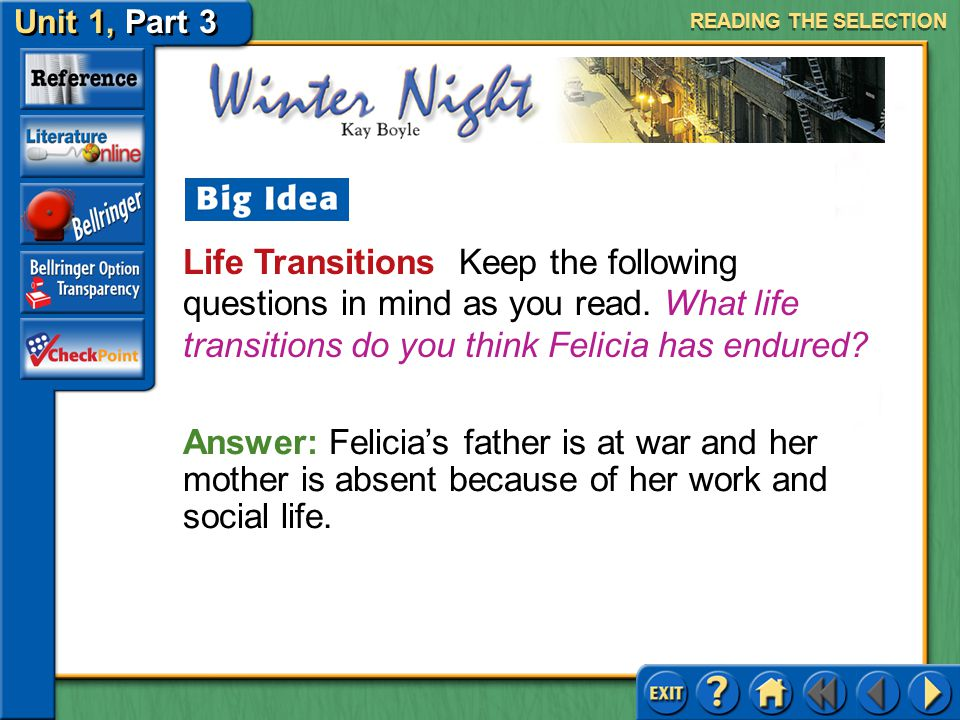 READING THE SELECTION Life Transitions Keep the following questions in mind as you read. What life transitions do you think Felicia has endured