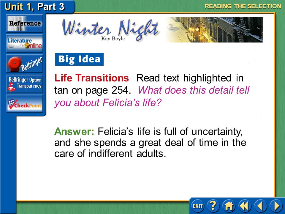 READING THE SELECTION Life Transitions Read text highlighted in tan on page 254. What does this detail tell you about Felicia's life