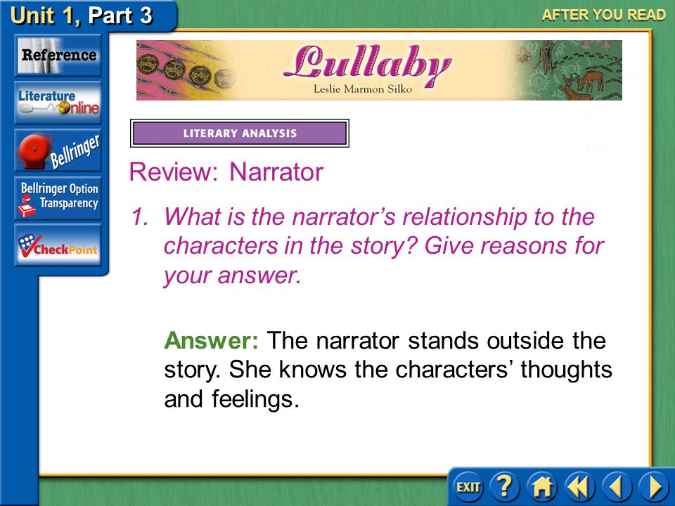 AFTER YOU READ Review: Narrator. What is the narrator's relationship to the characters in the story Give reasons for your answer.