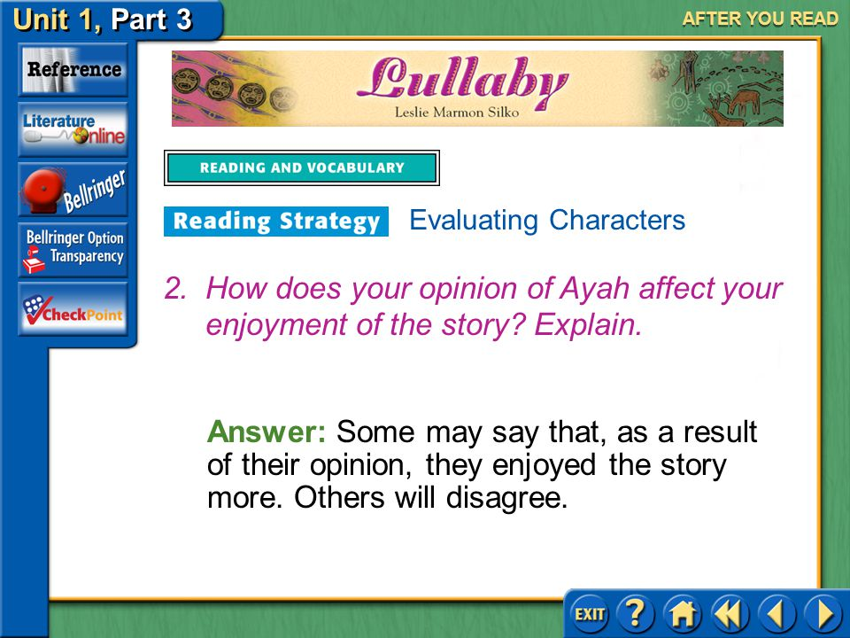 AFTER YOU READ Evaluating Characters. How does your opinion of Ayah affect your enjoyment of the story Explain.
