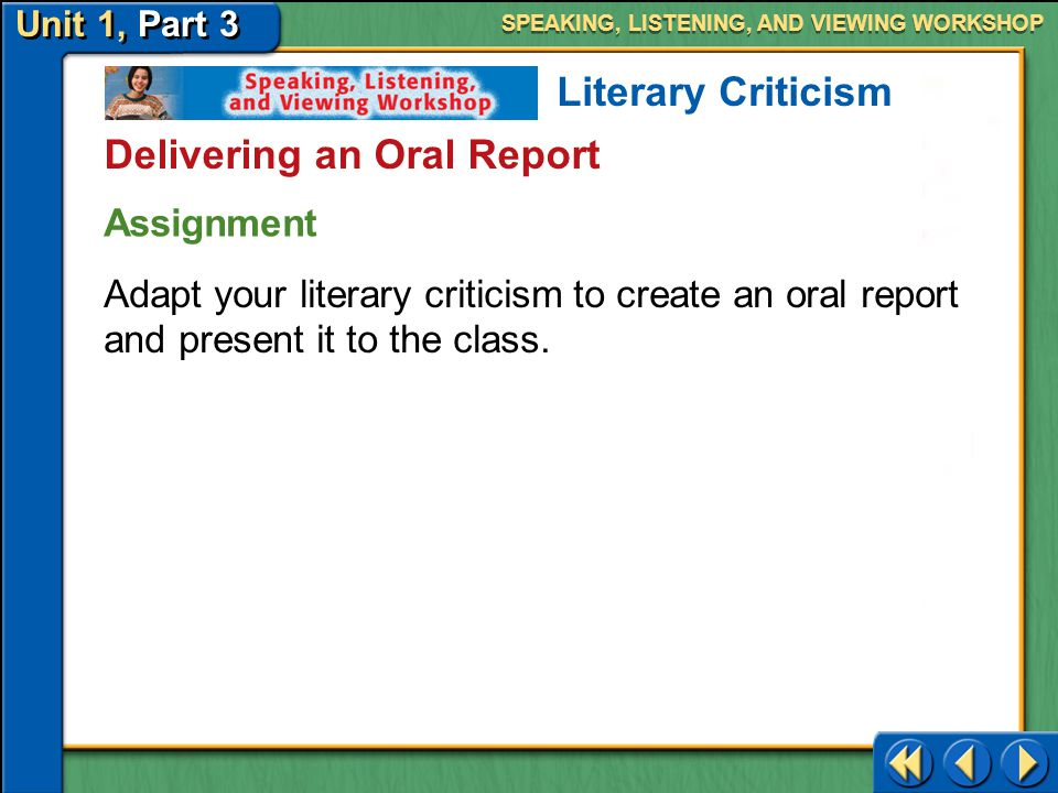 Delivering an Oral Report