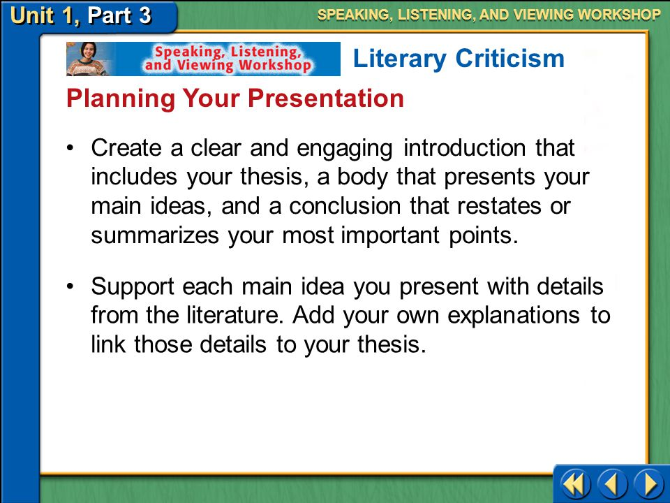 Planning Your Presentation