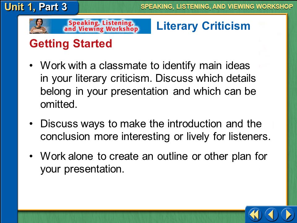 Literary Criticism Getting Started