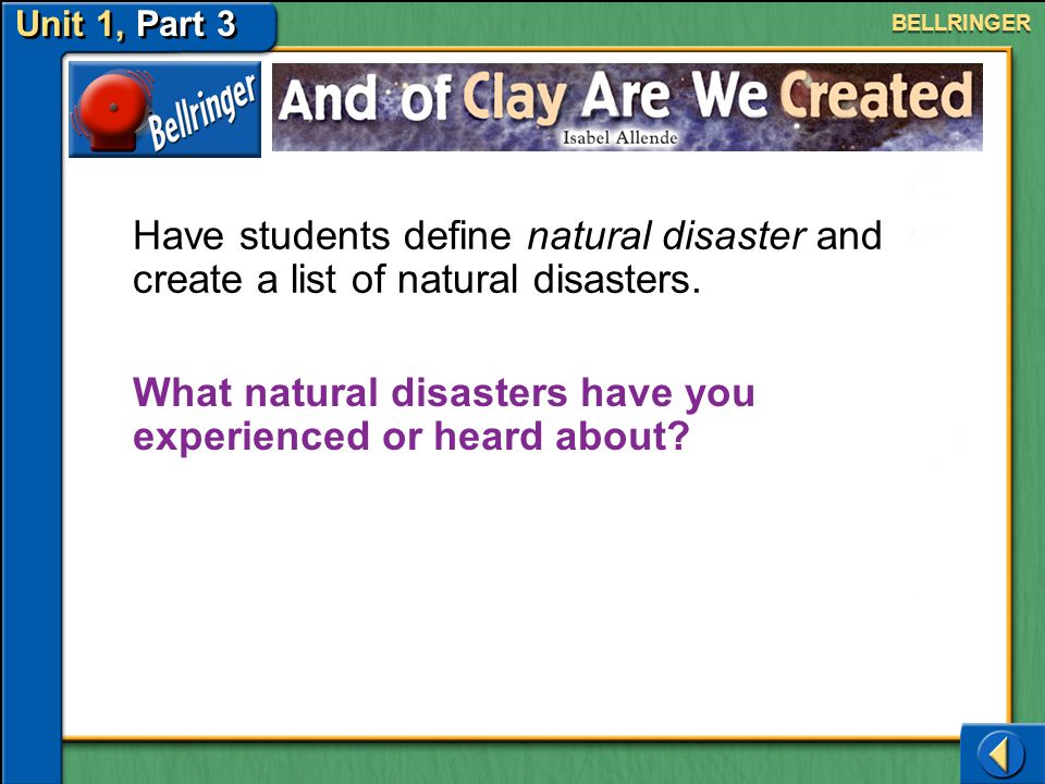 What natural disasters have you experienced or heard about