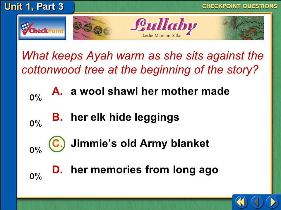 CHECKPOINT QUESTIONS What keeps Ayah warm as she sits against the cottonwood tree at the beginning of the story