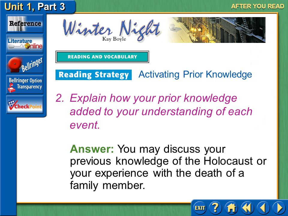 AFTER YOU READ Activating Prior Knowledge. Explain how your prior knowledge added to your understanding of each event.