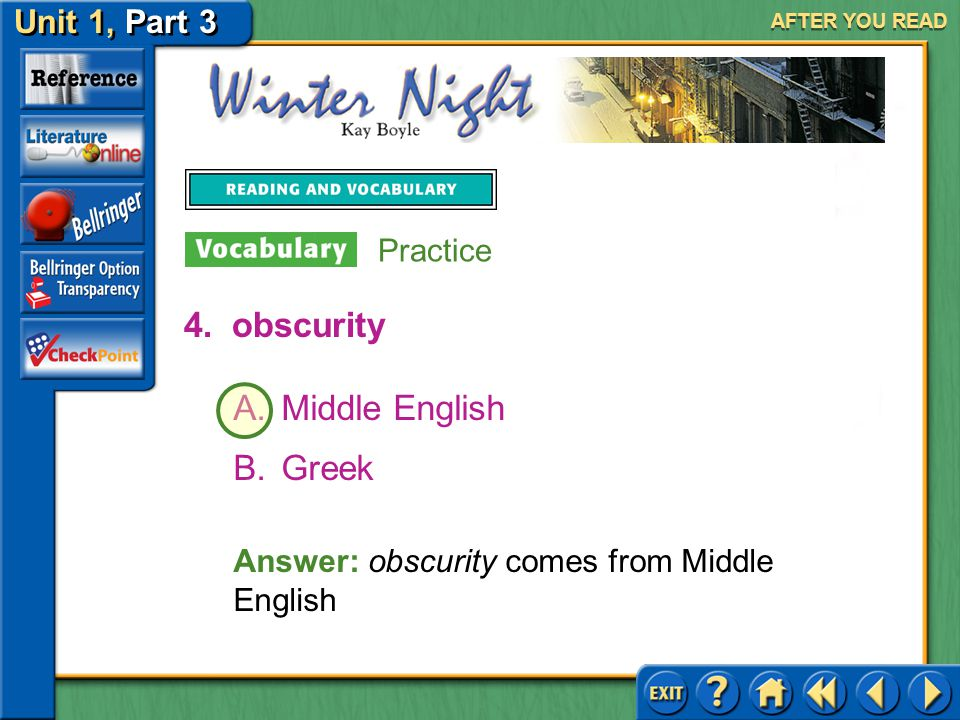 obscurity Middle English Greek Practice