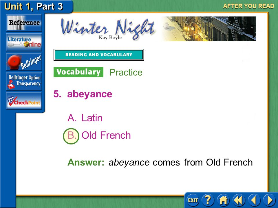 abeyance Latin Old French Answer: abeyance comes from Old French
