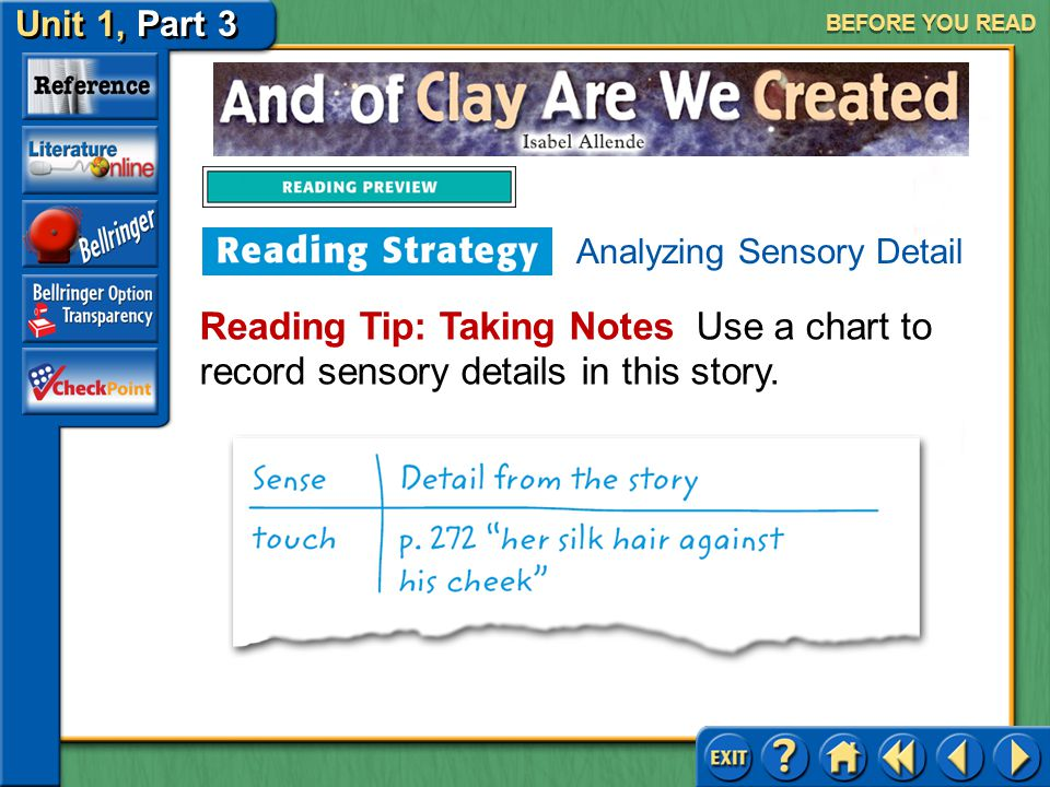 BEFORE YOU READ Analyzing Sensory Detail.