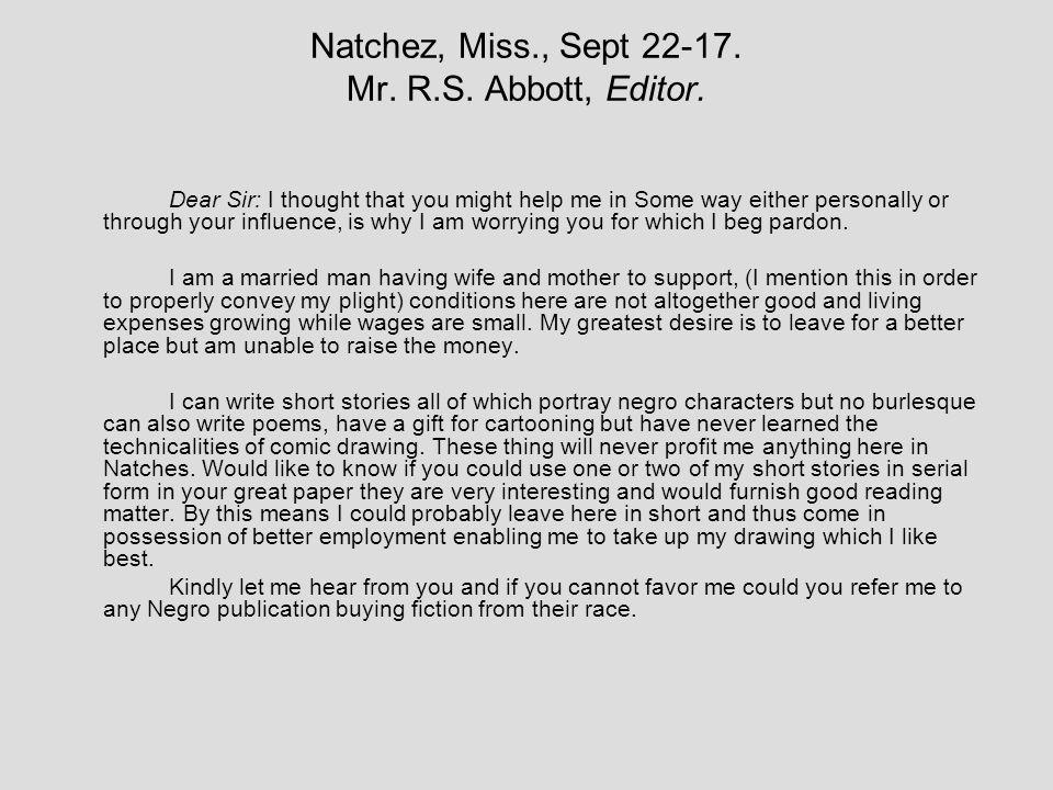 Natchez, Miss., Sept 22-17. Mr. R.S. Abbott, Editor.