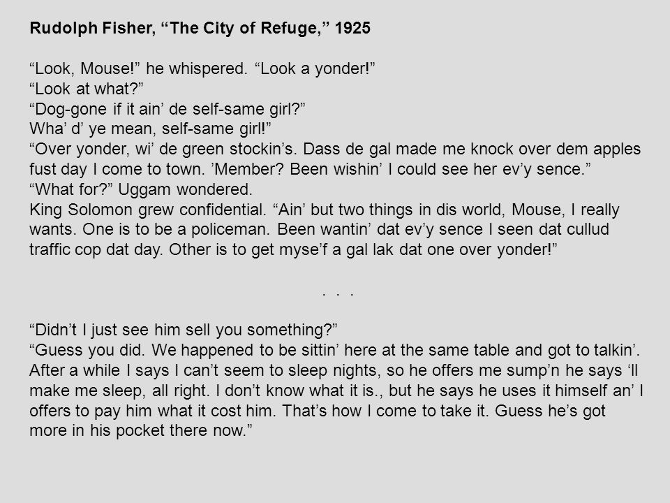 Rudolph Fisher, The City of Refuge, 1925