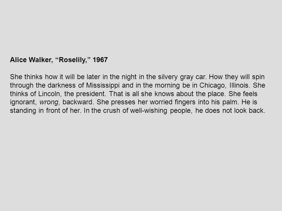 Alice Walker, Roselily, 1967
