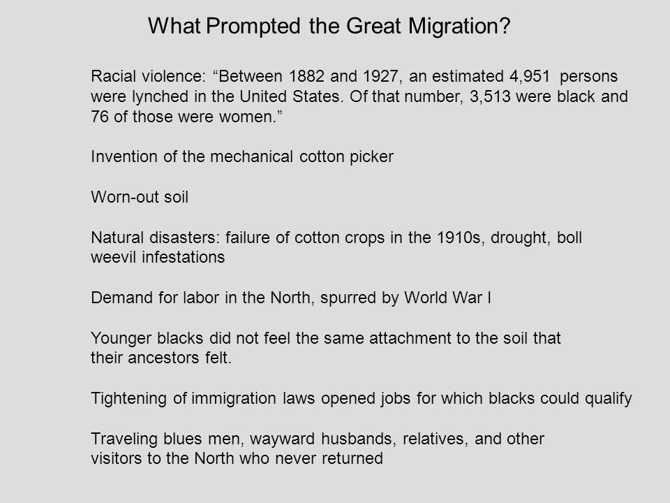 What Prompted the Great Migration
